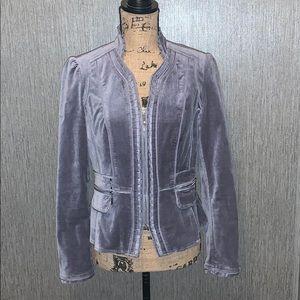 White House Black Market Velvet Zip Up Blazer 4